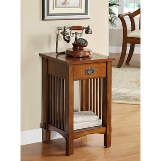 """Furniture of America Hand-rubbed Oak Finish Wood End Table - 15.75""""W X 15.75""""D X 26""""H"""