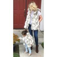 Jaeani Grace Mini Me and Mommy or Grandma (Gigi) Vest & Coat Set in Luxury Tibet Fox Faux Fur