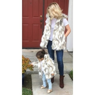Jaeani Grace Mini Me and Mommy or Grandma (Gigi) Vest & Coat Set in Luxury Tibet Fox Faux Fur (More options available)