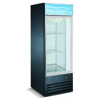 "EQ Kitchen Line Black Commercial 1-Glass Door Reach-In Freezer, 26.8""L x 26""W x 55.9""H"
