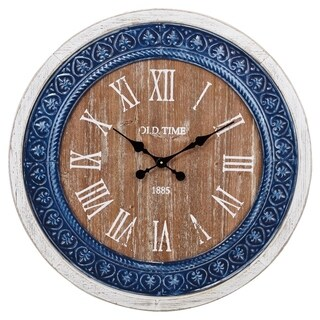 Modernly Classic Wood and Ceramic Clock, Blue