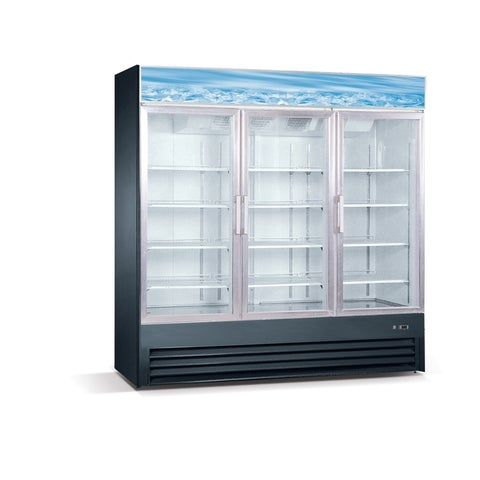 "EQ Kitchen Line SD1.9L3 3 Glass Door Reach-In Freezer, 391 gal , 80.7"" Height, 30.6"" Width, 79.5"" Length, Stainless Steel, Black"