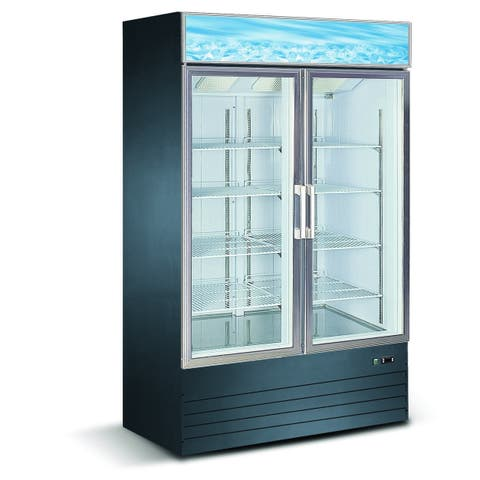 "EQ Kitchen Line Black Commercial 2-Glass Door Reach-In Freezer, 49.2""L x 26.2""W x 80.3""H"
