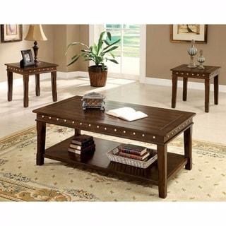 Solid Wood Coffee & End Tables Set, Dark Brown, Pack of 3
