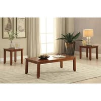 Wooden Coffee/End Table Set, 3 Piece Pack, Cherry Brown
