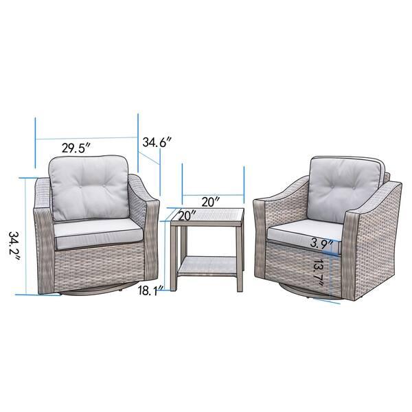 Peachy Shop Corvus Eolie 3 Piece Outdoor Wicker Swivel Glider Chair Andrewgaddart Wooden Chair Designs For Living Room Andrewgaddartcom