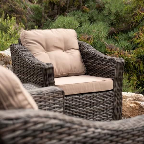 Magnificent Shop Corvus Eolie 3 Piece Outdoor Wicker Swivel Glider Chair Machost Co Dining Chair Design Ideas Machostcouk
