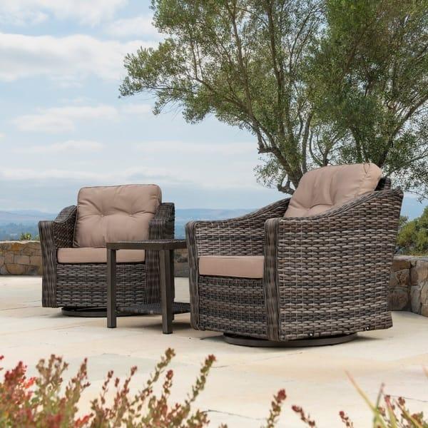 Cool Shop Corvus Eolie 3 Piece Outdoor Wicker Swivel Glider Chair Machost Co Dining Chair Design Ideas Machostcouk