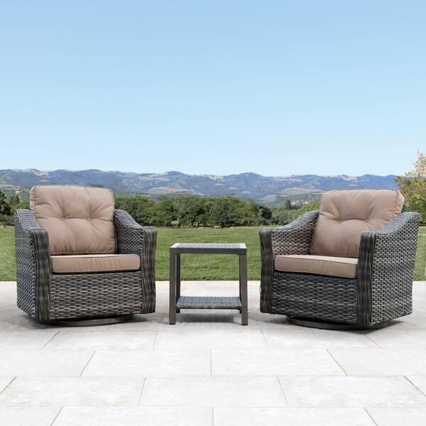 Astonishing Shop Corvus Eolie 3 Piece Outdoor Wicker Swivel Glider Chair Beatyapartments Chair Design Images Beatyapartmentscom