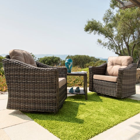 Corvus Eolie 3-piece Outdoor Wicker Swivel Glider Chair Set with Side Table