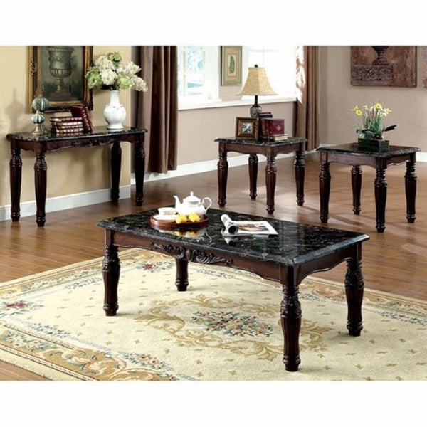 Faux Marble Top Coffee End Tables Set Espresso Brown