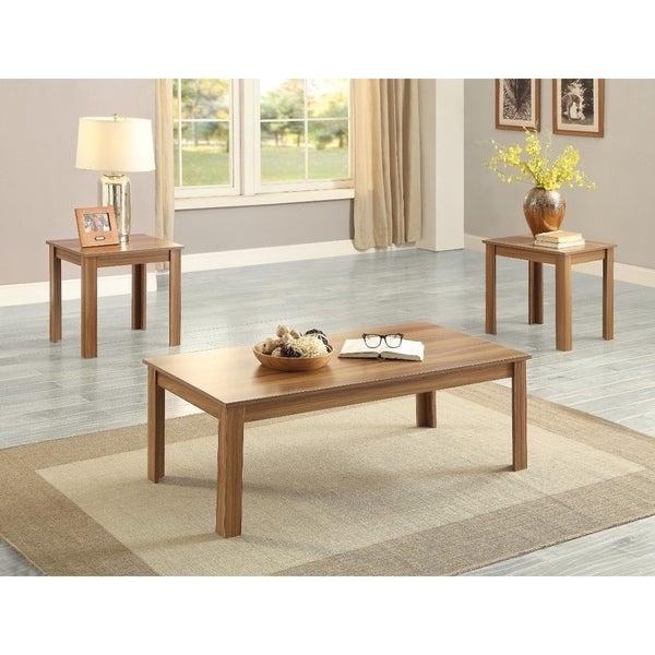 Shop Wooden Coffeeend Table Set 3 Piece Pack Oak Brown Free