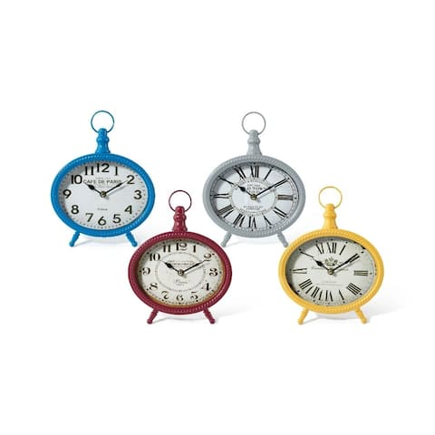 Iron Table Clocks in Vibrant Finish Assortment of 4 Multicolor