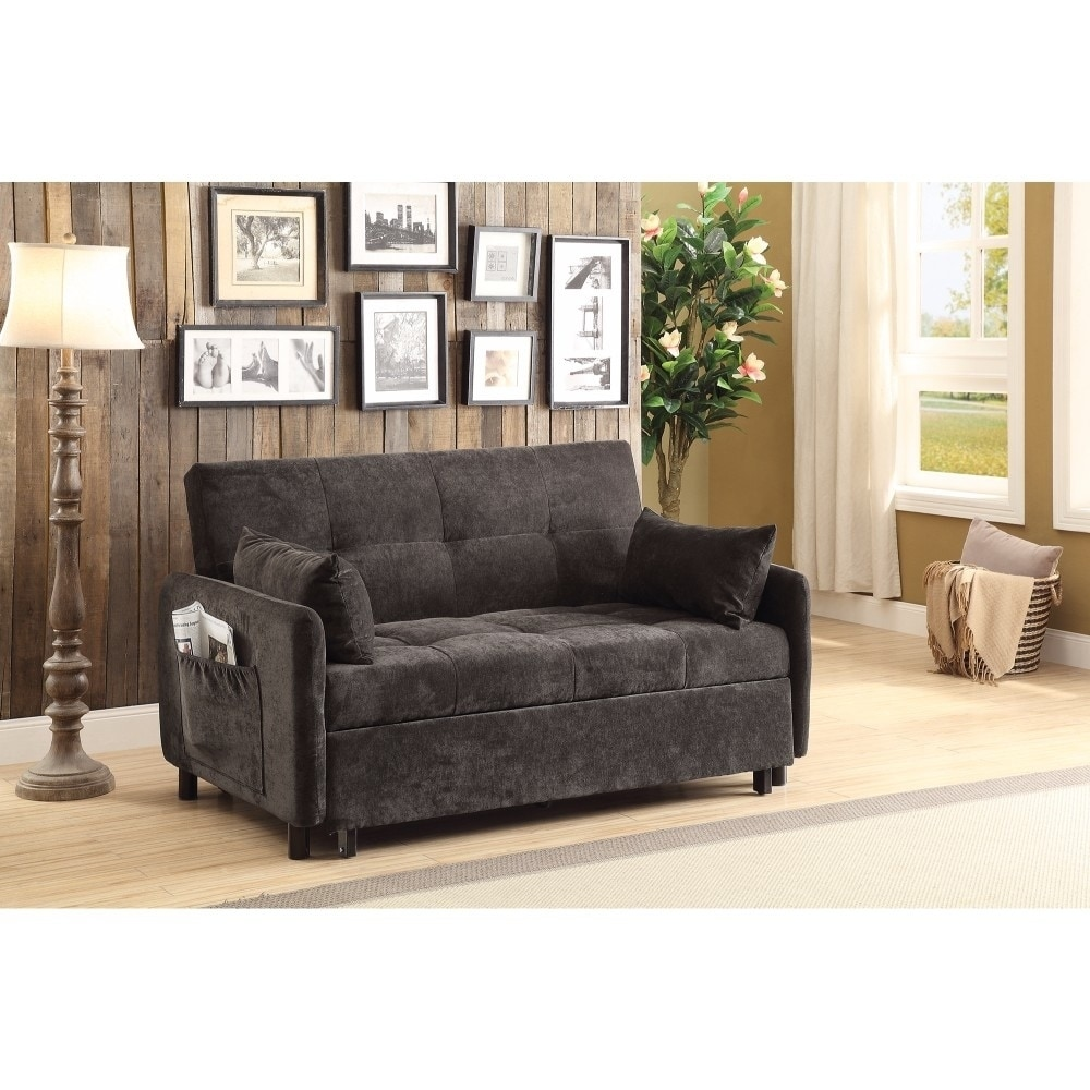 Amazing Small Velvet Tufted Sofa Bed Dark Brown Gmtry Best Dining Table And Chair Ideas Images Gmtryco