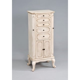 Vintage Jewelry Armoire, Antiqued White