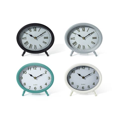 Round Table Clocks With Slanted Legs Assortment of 4 Multicolor