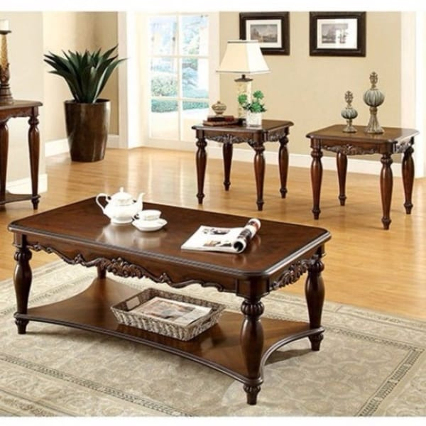 Wooden Coffee & End Tables Set, Cherry Brown, Pack of 3