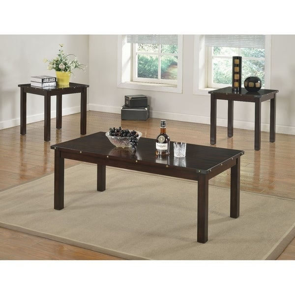 Retro Wooden 3 Piece Pack Coffee/End Table Set, Espresso Brown
