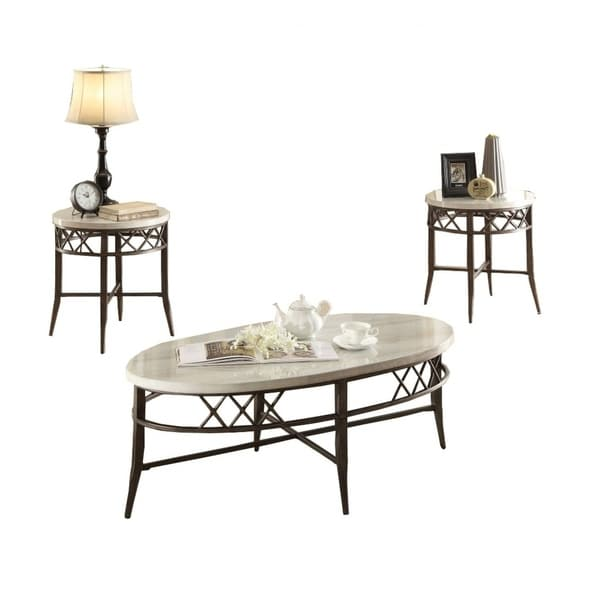 White Marble Coffee Table Set: Shop Metal Coffee Table Set With Marble Top, White And