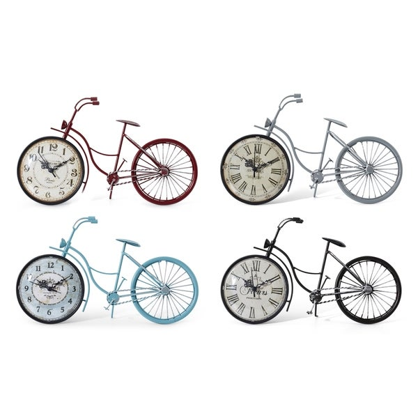 Vintage Bicycle Table Clocks Assortment of 4 Multicolor