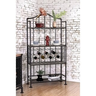 Industrial Style Wine Rack With Multiple Shelves, Antique Black