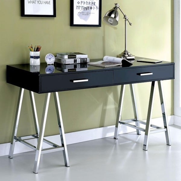 Substantial Two Drawer Contemporary Computer Desk With Angled Legs Black Free Shipping Today 21492324