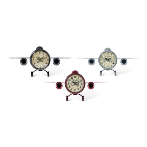 Vintage Airplane Table Clocks Assortment of 3 Multicolor