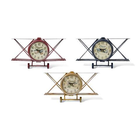 Biplane Table Clocks Assortment of 3 Multicolor