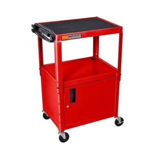 Offex Adjustable Height Multipurpose Steel AV Rolling Utility Cart Cabinet - Red