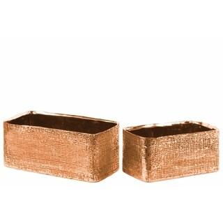 Engraved Crises Cross Rectangular Planter Set of Two- Copper- Benzara