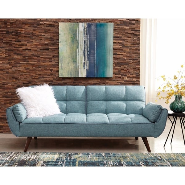 Shop Modern Design Turquoise Blue Fabric Sofa Bed - Free Shipping ...