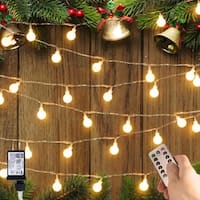Crystal Ball 100 LED Globe String Lights with Remote & Timer