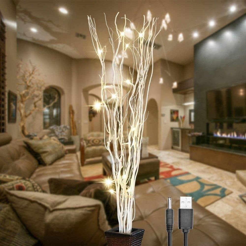 36Inch 16LED Natural Willow Twig Lighted Branch for Home Decoration - White  - 36\