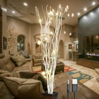 36Inch 16LED Natural Willow Twig Lighted Branch for Home Decoration - White - 36""