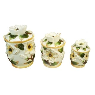 D'Lusso Designs 3 Piece Ceramic Canister Set Magnolia Design