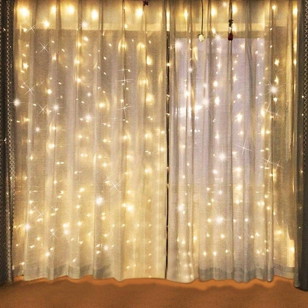shop 18w curtain icicle lights string fairy light warm. Black Bedroom Furniture Sets. Home Design Ideas