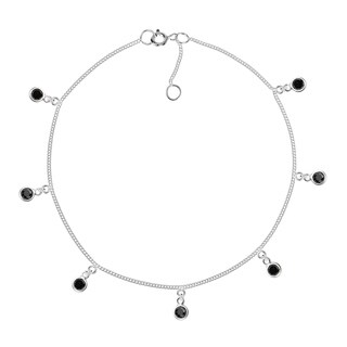 Handmade Cute Round Cubic Zirconia Dangle Link Sterling Silver Anklet (Thailand)