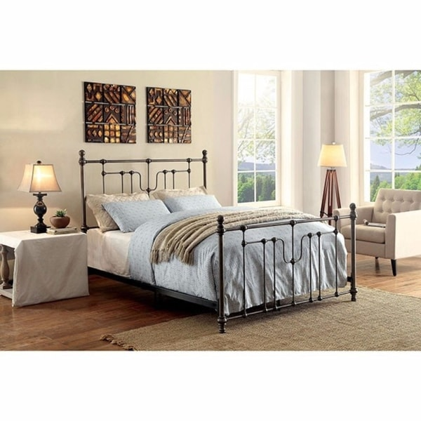Shop Accentuated Metal California King Size Bed With Headboard