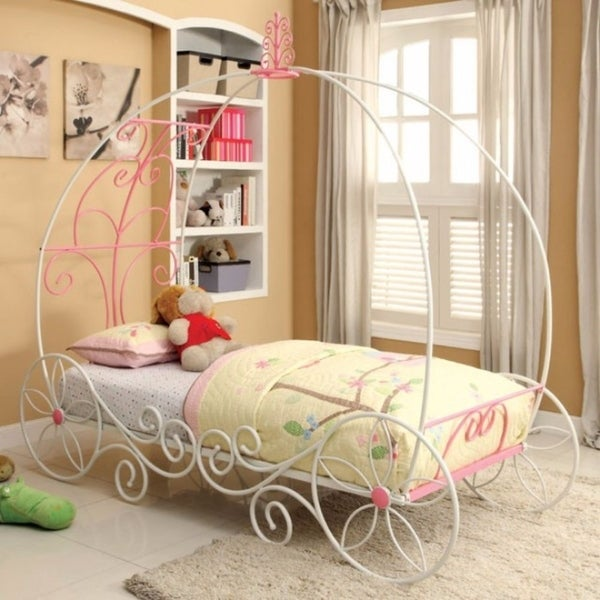 Metal Princess Twin Size Bed, Pink & White