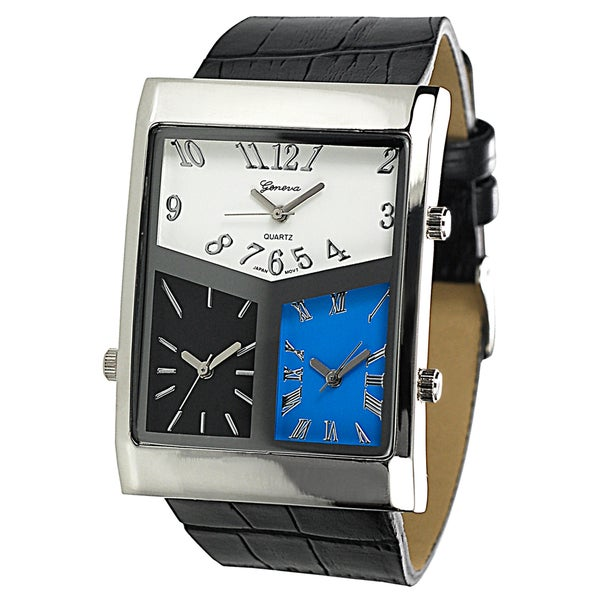 Geneva Platinum Men's 3-dial World Traveler Watch