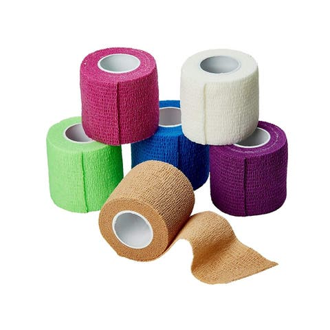 MEDca Self Adherent Cohesive Tape Wrap First Aid Athletic Support Bandages Sports FDA Approved 2 Inches X 5 Yards - 6 Count