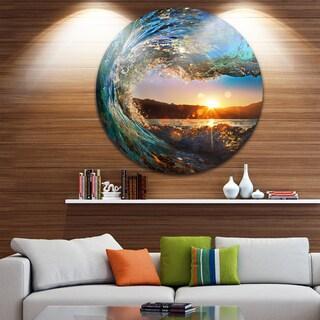 Design Art 'Colored Ocean Waves Falling Down' Modern Seashore Disc Metal Wall Art - 38 x 38 (As Is Item)