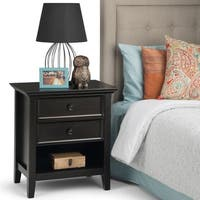 WYNDENHALL Halifax Solid Wood 24 inch wide Traditional Bedside Nightstand Table in Dark Brown