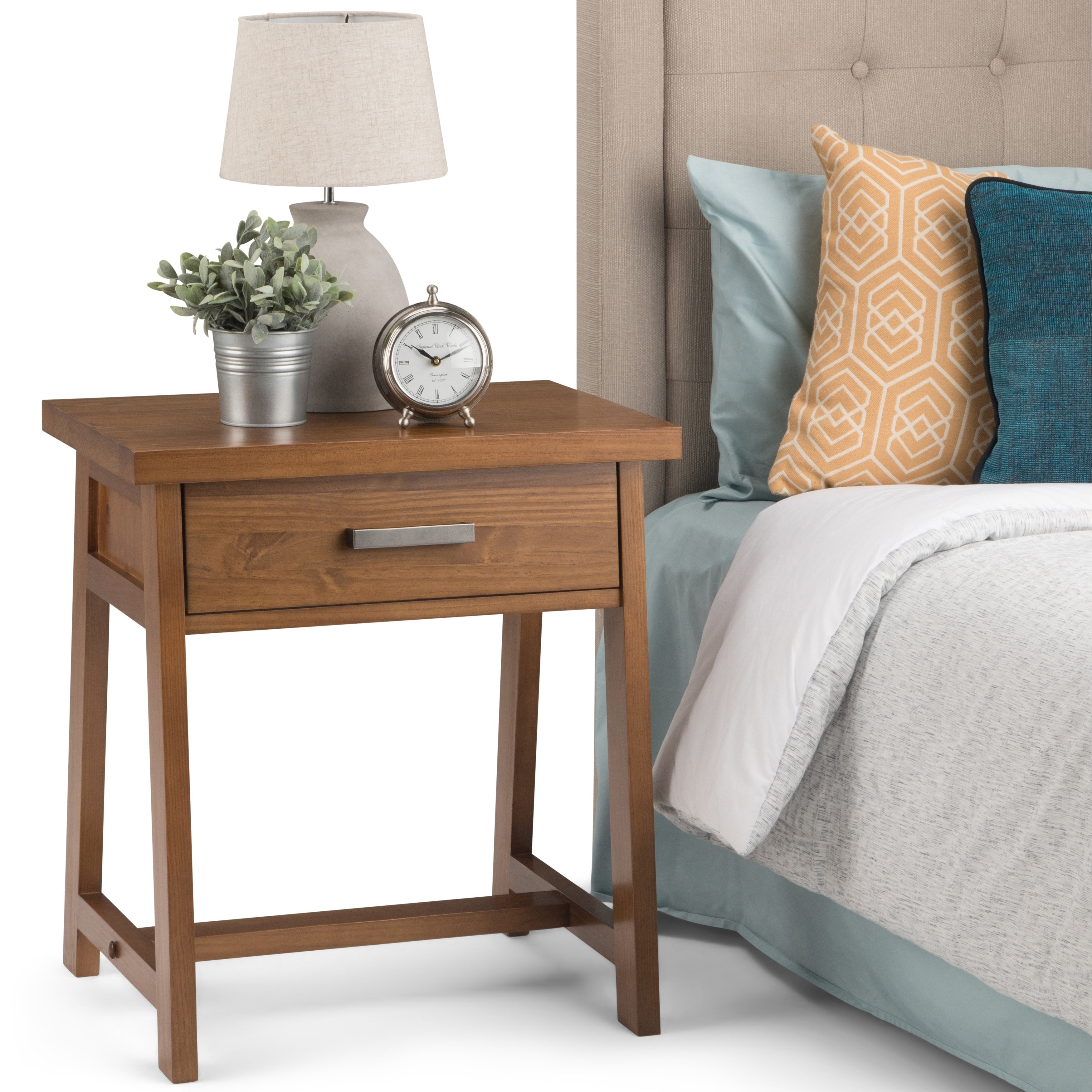Wyndenhall Hawkins Solid Wood 24 Inch Wide Modern Industrial Bedside Nightstand Table