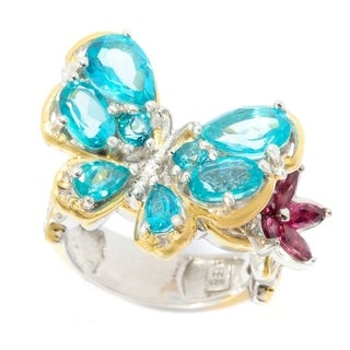Michael Valitutti Palladium Silver Paraiba Topaz Butterfly and Pink Tourmaline Flower Ring