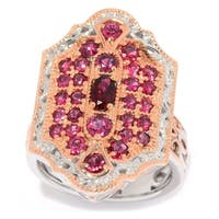 Michael Valitutti Palladium Silver Burmese Red Spinel Cluster North-South Ring