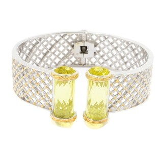 Michael Valitutti Palladium Silver Cylinder Ouro Verde Kissing Cuff Bracelet