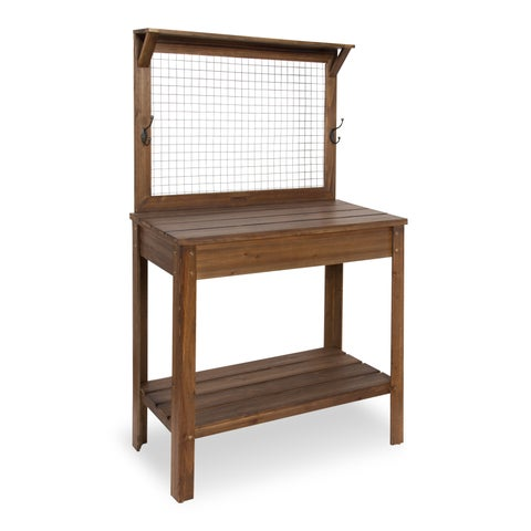Yavor Wooden Potting Bench Table , Rustic Brown