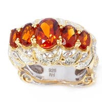 Michael Valitutti Palladium Silver Hand Engraved Madeira Citrine 5-Stone Ring.
