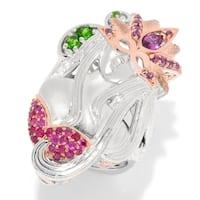 Michael Valitutti Palladium Silver Ruby Rhodolite & Chrome Diopside Masked Lady Ring.